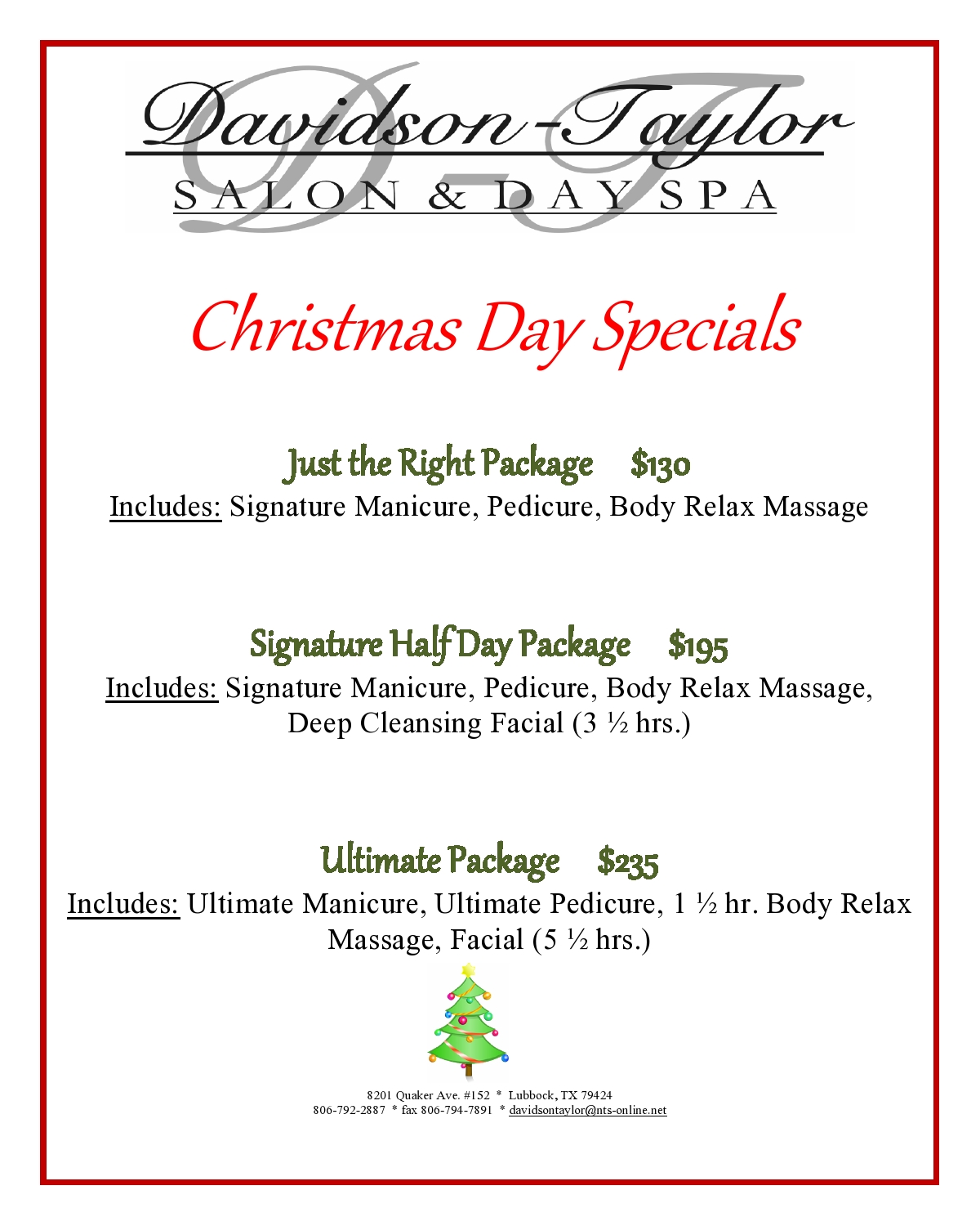 Christmas Spa Packages.Christmas Deals Page0001 Davidson Taylor Spa
