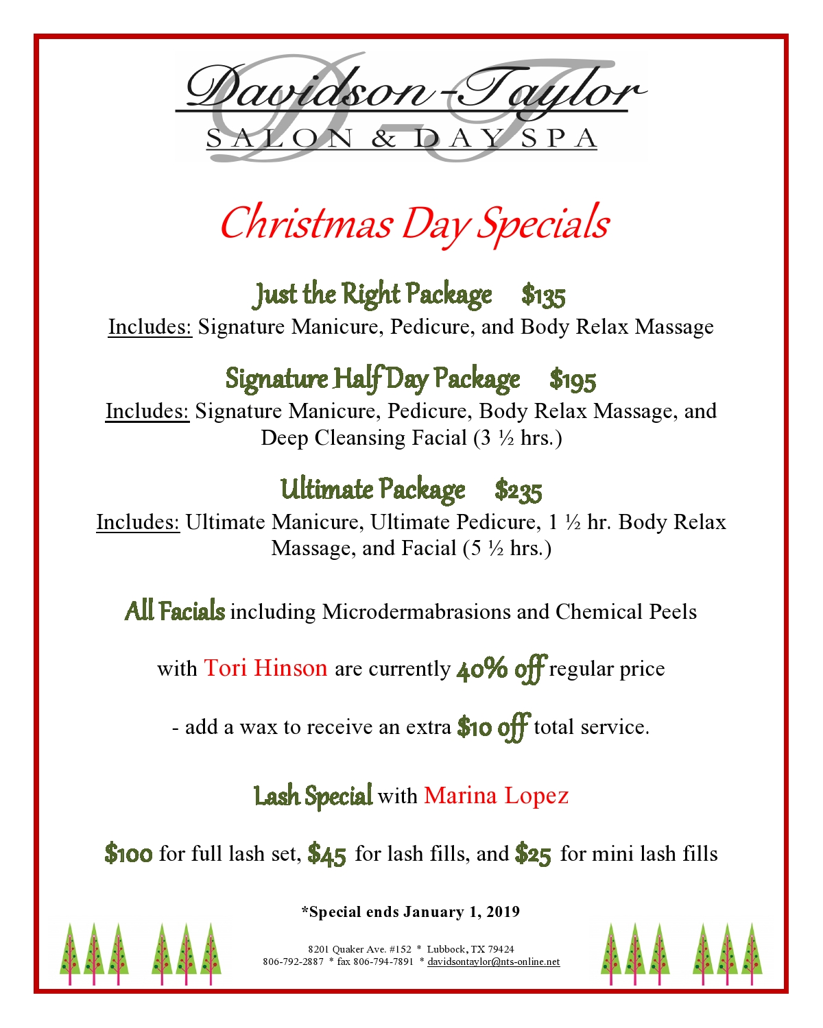 Christmas Specials 2019.Christmas Specials 2019 Page0001 Davidson Taylor Spa